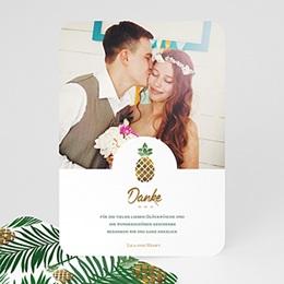 Danksagungskarten Hochzeit Ananas und Palmen