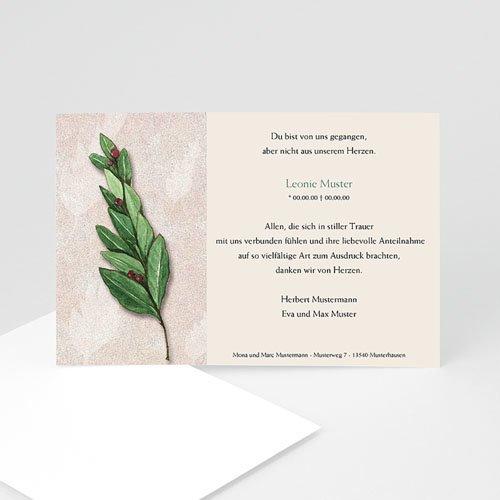 Weltlich Dankeskarten Trauer Lorbeerzweig