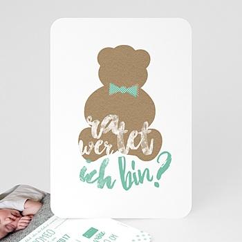 Babykarten für Jungen - Kraftpapier & Teddy - 0