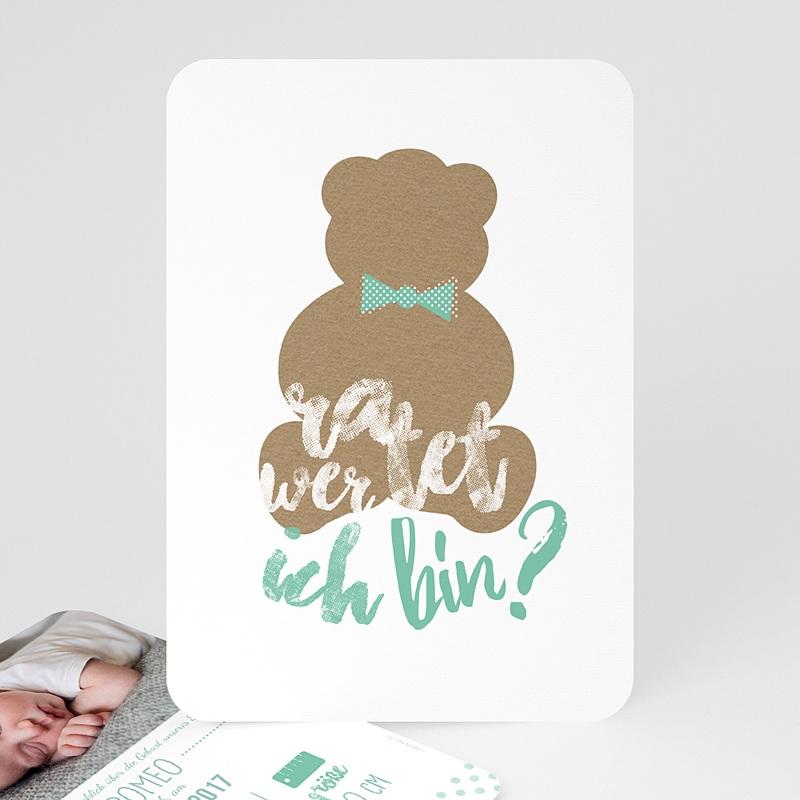 Geburtskarten mit Bär Kraftpapier & Teddy