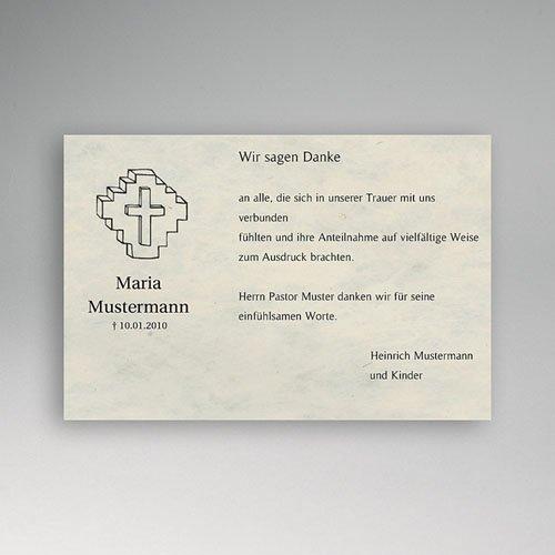 Trauer Danksagung christlich - Trauerkarte mit Kreuzeszeichnung 5331