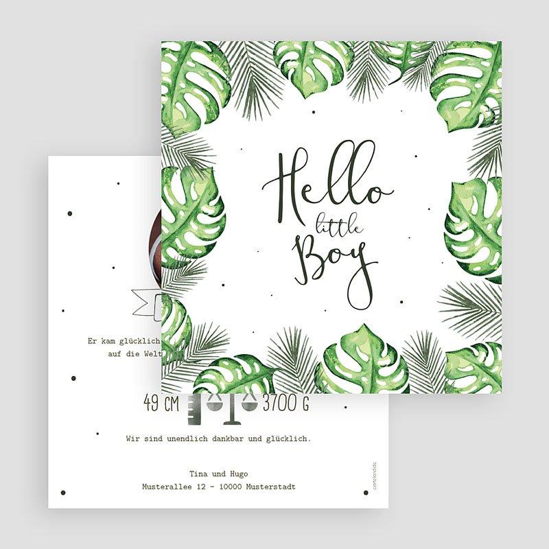 Geburtskarten für Jungen Tropische Pflanzen gratuit