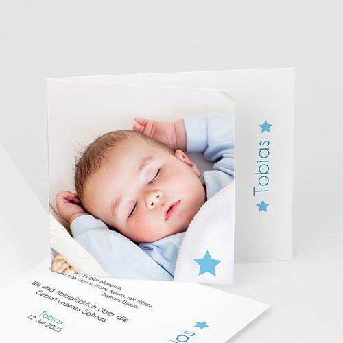 Babykarten für Jungen - Geburtskarte Kleiner blauer Stern 5379