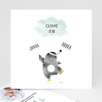 Geburtskarten für Jungen - Pinguin blau - 0