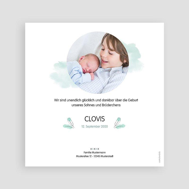 Geburtskarten für Jungen Pinguin blau pas cher