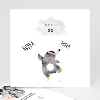 Geburtskarten für Mädchen - Pinguin rosa - 0