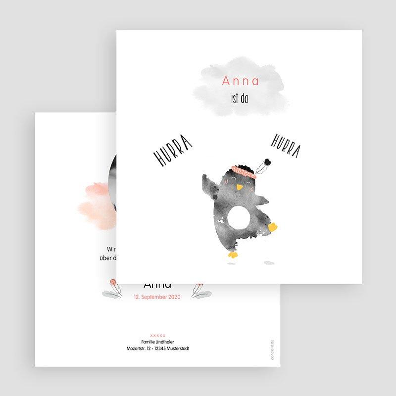 Geburtskarten für Mädchen Pinguin rosa gratuit
