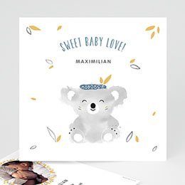 Karten Geburt Koala blau