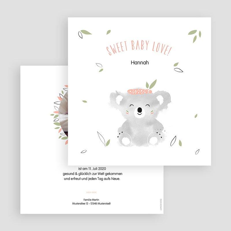 Geburtskarten für Mädchen Koala Baby gratuit
