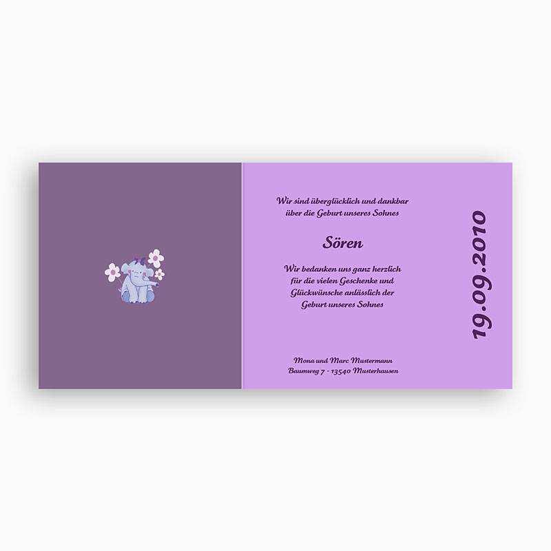Geburtskarten mit Elefant Elefant in Violett pas cher