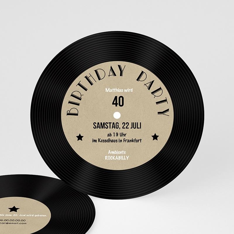 Erwachsener Einladungskarten Geburtstag Vinyl Schallplatte