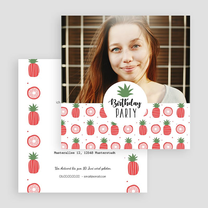 Erwachsener Einladungskarten Geburtstag Pineapple gratuit