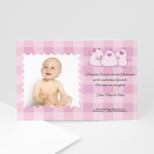 Dankeskarten Geburt Mädchen - Danksagung Karomuster 5407