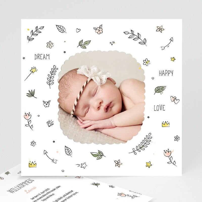 Geburtskarten für Mädchen Dream Happy Love