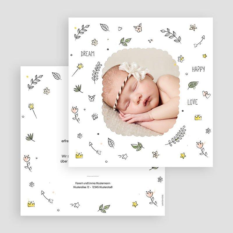 Geburtskarten für Mädchen Dream Happy Love gratuit