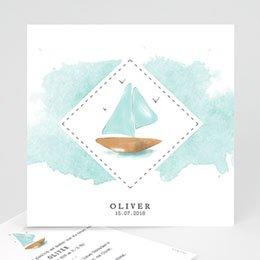Babykarten für Jungen - Schiff Aquarell - 0