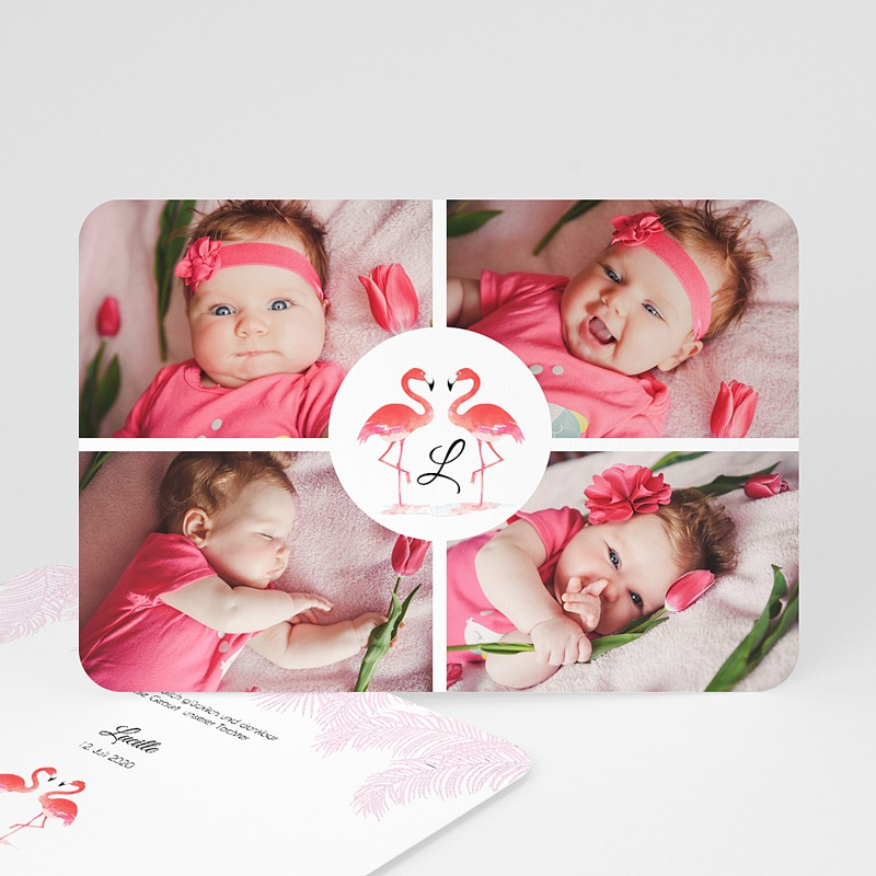 Geburtskarten für Mädchen Tropical Flamingo