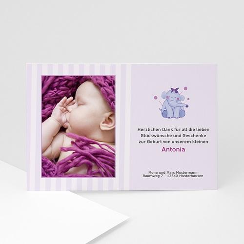 Dankeskarten Geburt für Mädchen Elefant in Violett