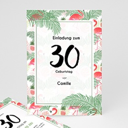 Einlegekarte Anniversaire adulte Tropical Flamingo