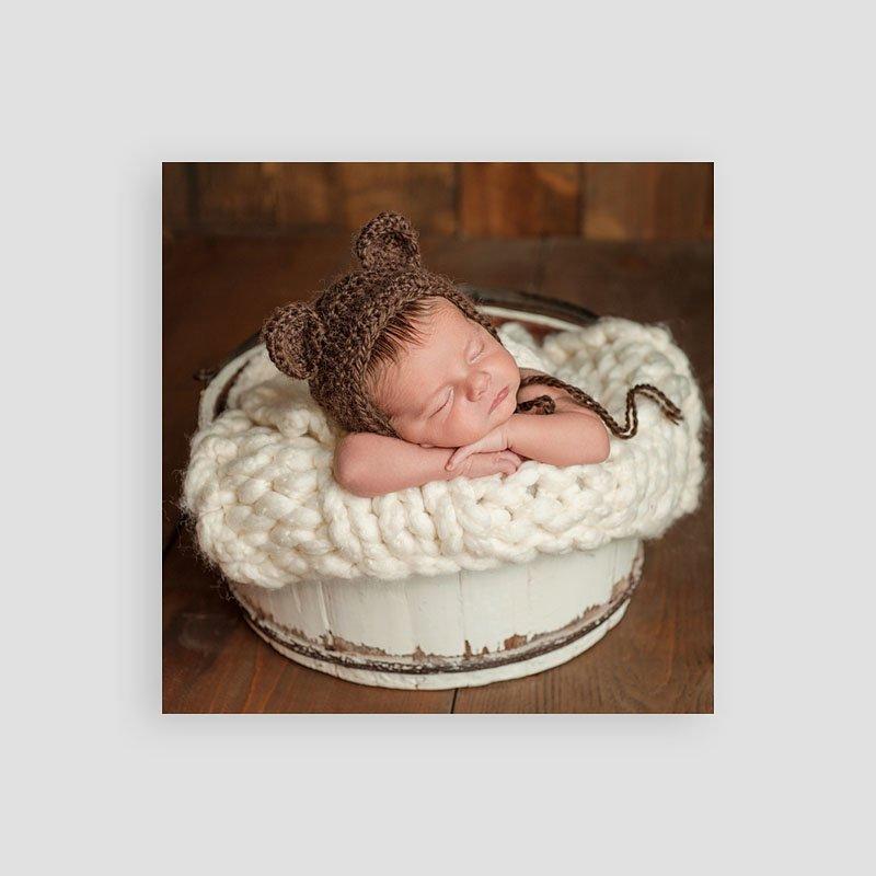 Dankeskarten Geburt Jungen - Vintage Hase 54348 thumb