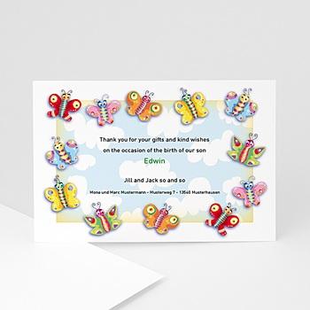 Dankeskarten Geburt Mädchen - Unser Schmetterling - 1