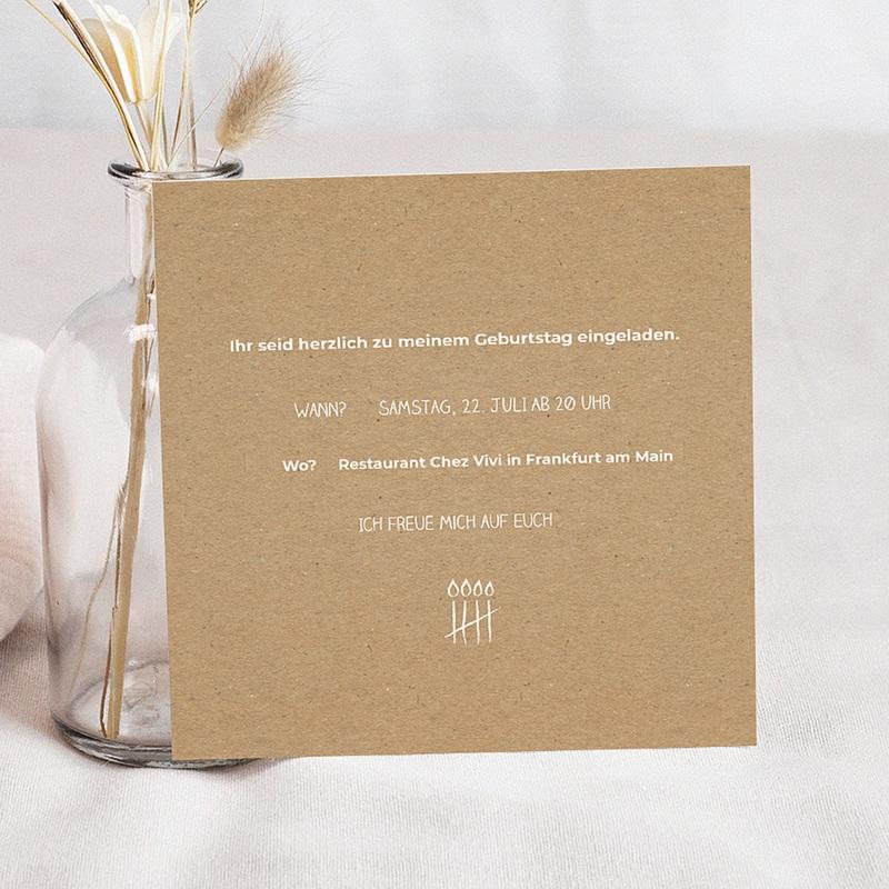 Erwachsener Einladungskarten Geburtstag Strichliste pas cher