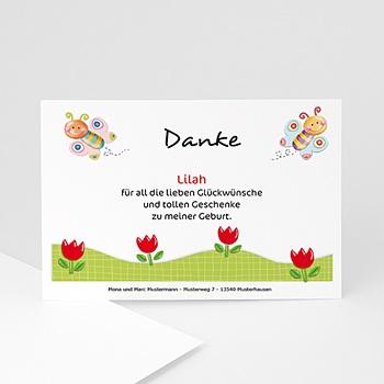Dankeskarten Geburt Mädchen - Der Schmetterlingsrahmen - 1