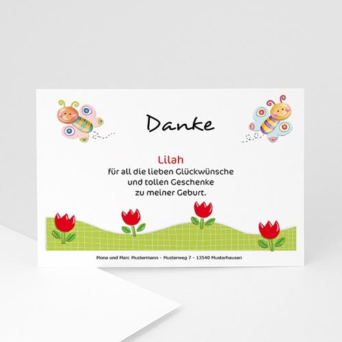 Dankeskarten Geburt Mädchen - Schmetterlingsrahmen 5439 test