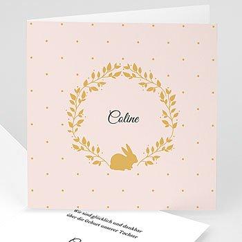 Geburtskarten für Mädchen - Hase in Gold - 0