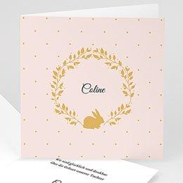 Geburtskarten für Mädchen - Hase in Gold