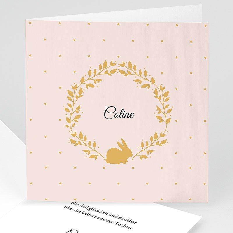 Geburtskarten für Mädchen - Hase in Gold 54867 thumb
