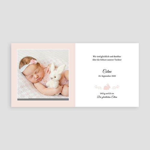 Geburtskarten für Mädchen - Hase in Gold 54868 thumb