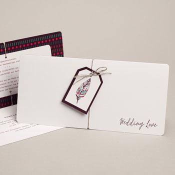 Einladungskarten Hochzeit  - Federschmuck - 0