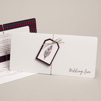 Kreative Hochzeitskarten - Federschmuck - 0