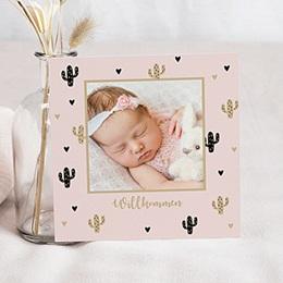 Geburtskarten für Mädchen - Kaktus und Gold