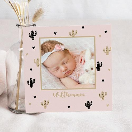 Geburtskarten für Mädchen Kaktus und Gold