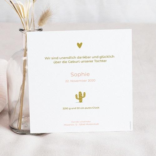 Geburtskarten für Mädchen Kaktus und Gold pas cher