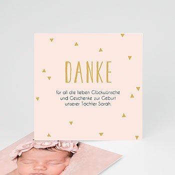 Dankeskarten Geburt Mädchen - Danke in Gold - 0