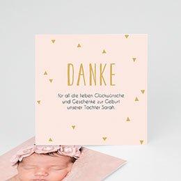 Danksagungskarten Geburt Danke in Gold