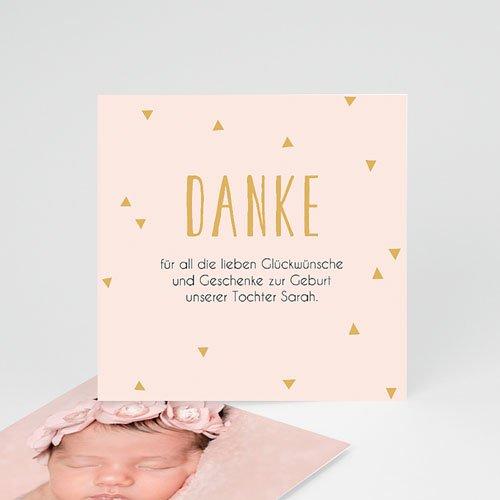 Dankeskarten Geburt für Mädchen Danke in Gold