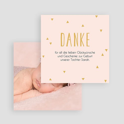Dankeskarten Geburt Mädchen Danke in Gold gratuit