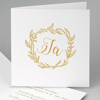 Elegante Hochzeitskarten  - Ja in Gold - 0