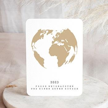Weihnachtskarten - Weltkugel Gold - 0