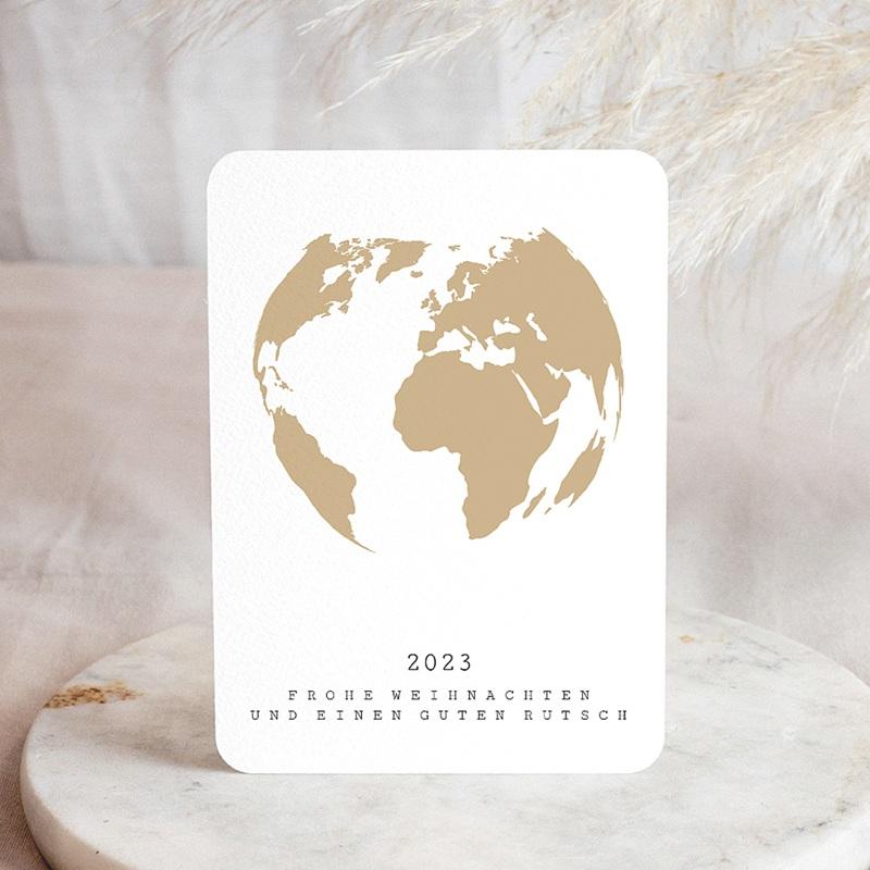 Geschäftliche Weihnachtskarten Weltkugel Gold