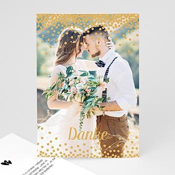 Dankeskarten Hochzeit mit Foto - Paillettenregen - 0