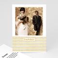 Dankeskarten Hochzeit mit Foto - Streifen Gold 55641 test
