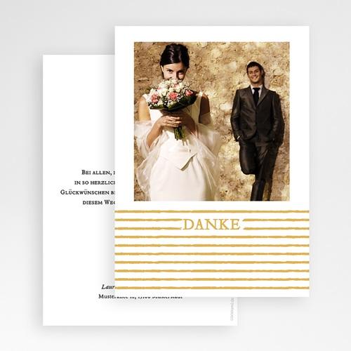 Dankeskarten Hochzeit mit Foto - Streifen Gold 55643 test