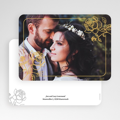 Klassische Dankeskarten Hochzeit  - Rosen 55679 thumb