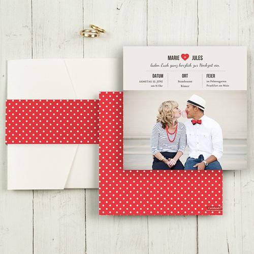 Hochzeitskarten Quadratisch - Vintage Rot 55815