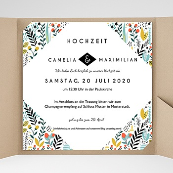 Hochzeitskarten Quadratisch - Wilde Blumen - 0